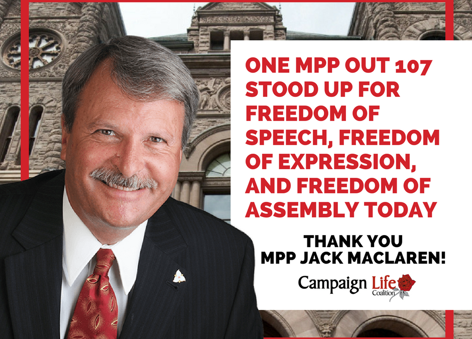 Trillium's Jack MacLaren voices Opposition to Bubble Zone Bill 163